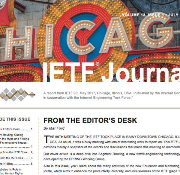 IETF Journal July 2017 Issue Available Online Now Thumbnail