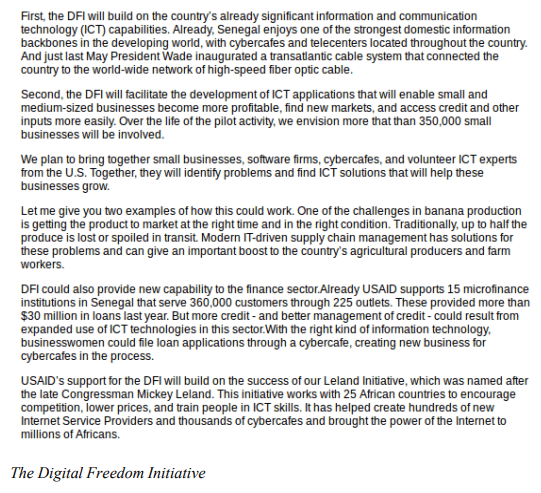 The Digital Freedom Initiative, from the testimony of Andrew S. Natsios, Administrator, U.S. Agency for International Development