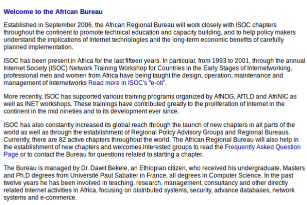 A screen grab of old text from the African Regional Bureau site from the archived www.isoc.org webpage